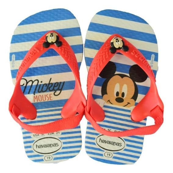 Ojotas Havaianas Baby Mickey New Disney Classic Azul Rojo