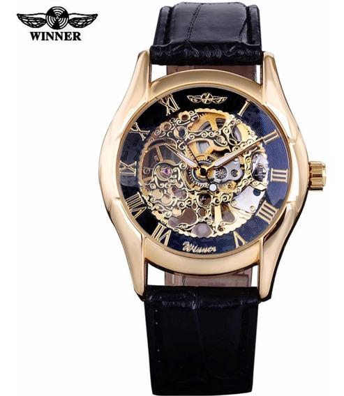 Relógio Automático Masculino Dourado Couro Mecanico 902
