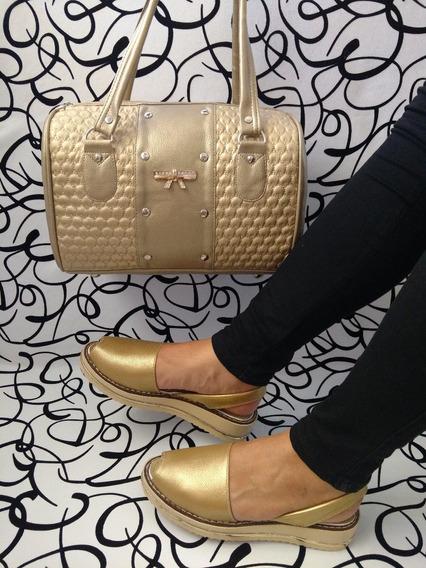 Combo Calzado Colombiano Sandalia Bolso Dorado Envío Gratis
