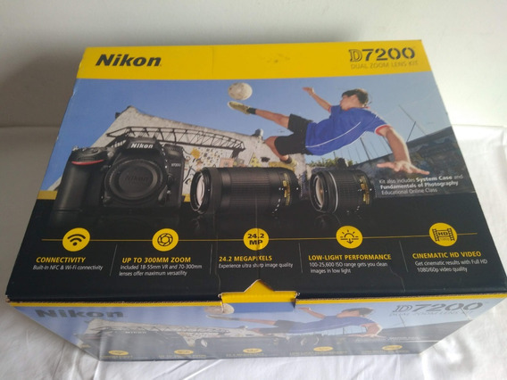 Câmera Nikon D7200+lentes 18-55mm/70-300mm+bolsa+acessórios