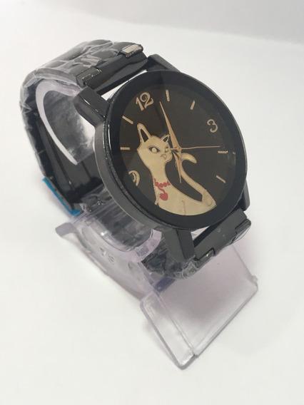 Relógio Feminino Style Cat Preto Com Design Sofisticado