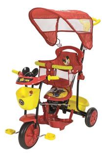 Triciclo Bebe Disney Mickey Y Cars Rojo Xg-8001