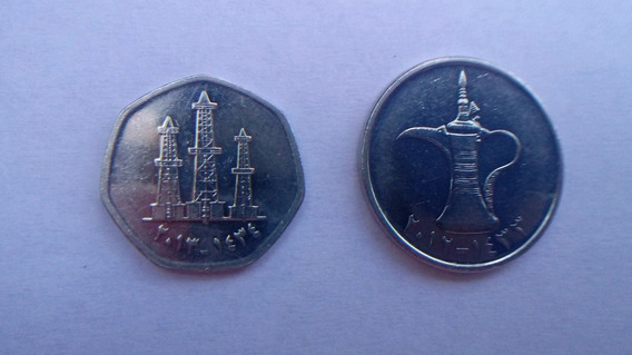 Moneda Lote X2 Emiratos Arabes Unidos 1 Dirham Y 50 Fils