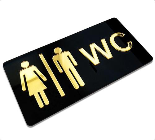 Imagem 1 de 3 de Placa Indicativa Banheiro Masculino E Feminino Wc Acrílico