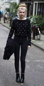 Suéter Negro Con Puntos Blancos Marca H&m