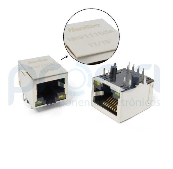 10 Peças Hr911105a Jack Rj45 Com Led, Interface De Rede