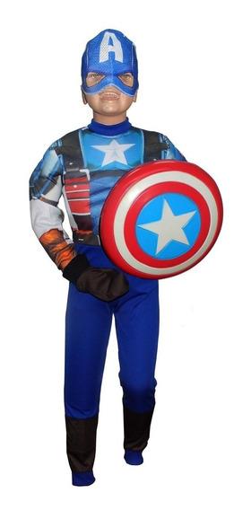 Disfraz Capitan America Musculoso Ropa Niño Avengers