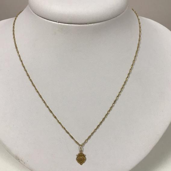 Colar Em Ouro Com Pingente, 1.7 Gramas, 41,5 Cm
