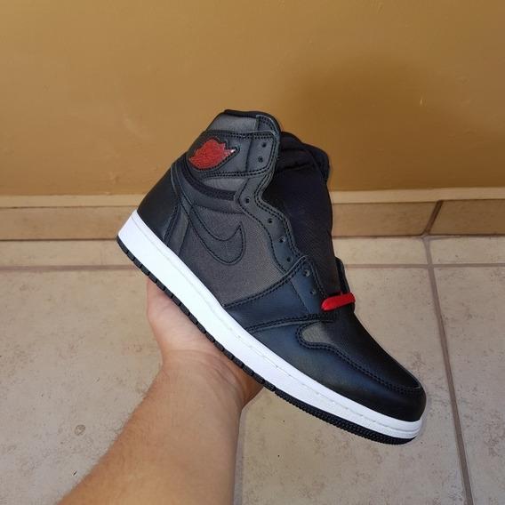 Jordan 1 Black Satin Gym Red