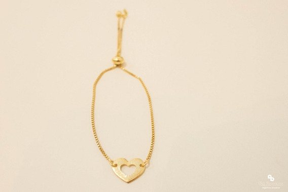 Pulseira Feminina Gravatinha Coração Banhado A Ouro