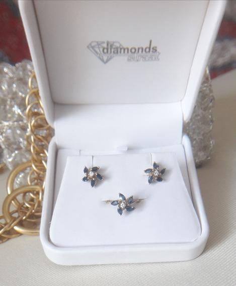 Juego De Aretes Y Anillo Oro 18 K Zafiros Y Diamantes