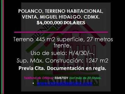 Polanco, Terreno Habitacional, Venta, Miguel Hidalgo, Cdmx.