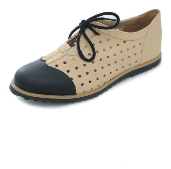 Sapato Oxford Feminino Hms Couro Nude