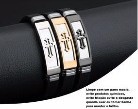Pulseira Masculina Feminina Silicone Luxo + Aço Inox Cruz
