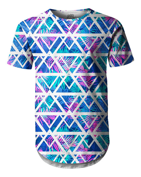 Camiseta Masculina Longline Swag Tecno Geométrico