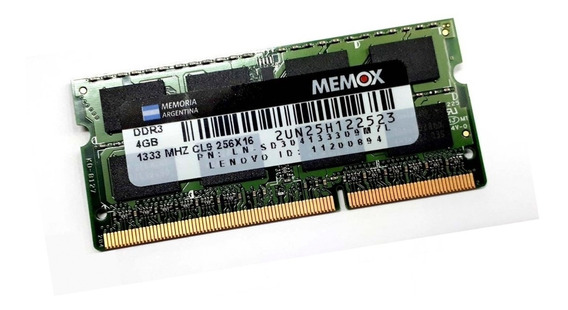 Memoria Notebook 4gb Ddr3 1333 1.5v / Sodimm / Memox Cuotas