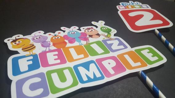 Adorno Torta Cake Topper Bichikids Feliz Cumple Bichi Kids