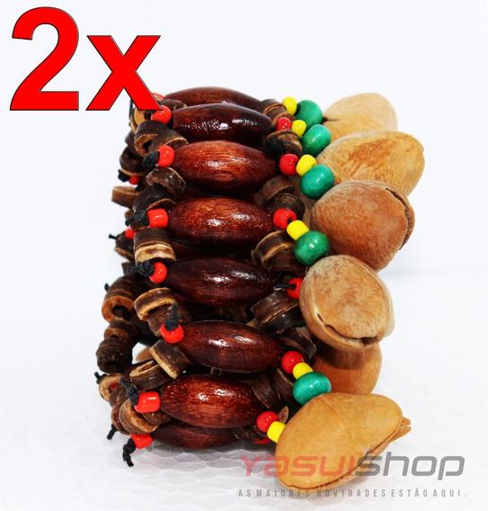 Pulseira Bracelete De Madeira E Sementes Artesanal Unissex