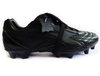 Zapato Futbol Concord Tacos Piel Todo Negro Mod 160xg
