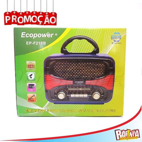 Rádio Ecopower Ep-f210b Fm Am Sw 3band Usbtf Mp3 Player