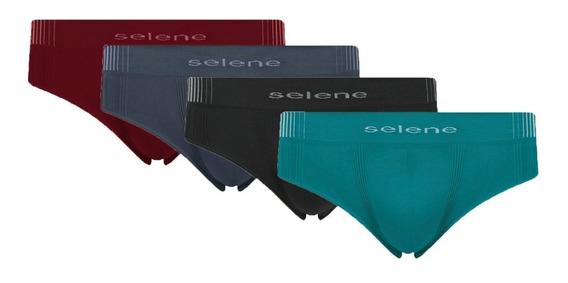 Cueca Slip Sem Costura Selene - Kit Com 10 Unidades