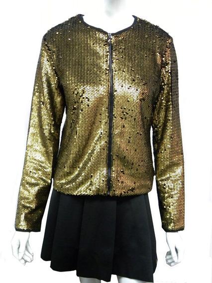 Jaqueta Com Paetês Dourados