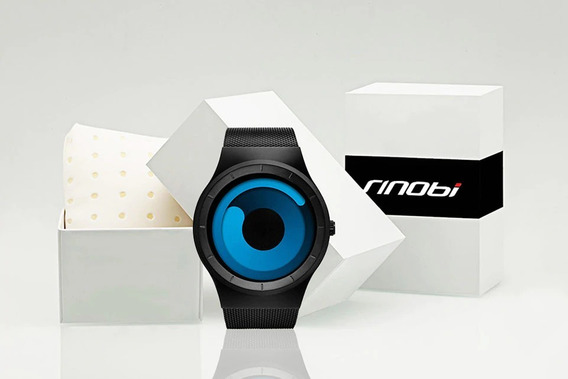 Relógio Luxo Quartzo Display Azul Pulseira Aço *** Sinobi