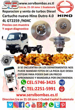 Reparacion De Turbos Hino Dutro 4.0 4l Gt2259/h04c Diesel Gt