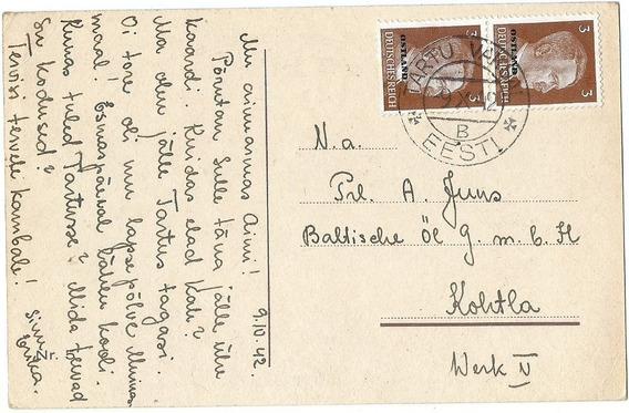 Tarjeta Postal Ocupación Alemana De Estonia 1942 Excelente!