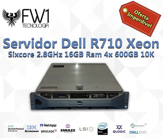 Servidor Dell R710 Xeon Sixcore 2.8ghz 16gb Ram 4x 600gb 10k