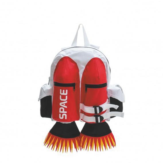 Mochila Prescolar Espacial Blanca Y Roja