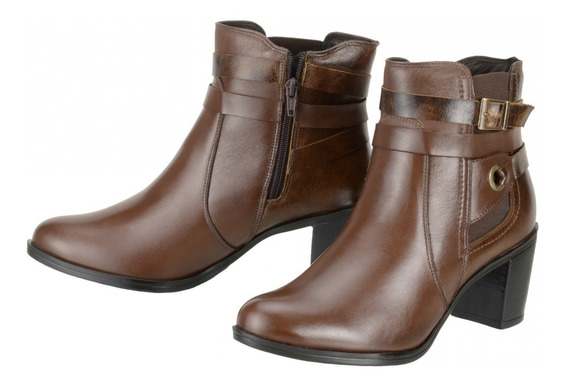 Bota Cano Curto Feminina Dududias Ankle Boot Couro Leg 252