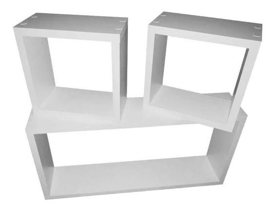 3 Nichos 50x25 / 20x20 / 20x20 Mdf 15mm Prateleira Branco
