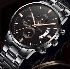 Relógio Masculino Fngeen Aço Cromado Preto Grande Oferta