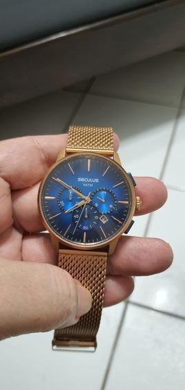 Relógio Seculus Cronógrafo Rosê Masculino
