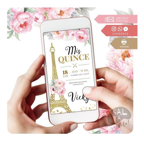 Invitación Digital Paris Quince Años - Salta Violeta