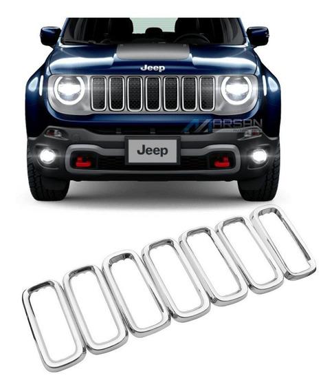 Aplique Aro Cromado Grade Jeep Renegade 2019 2020