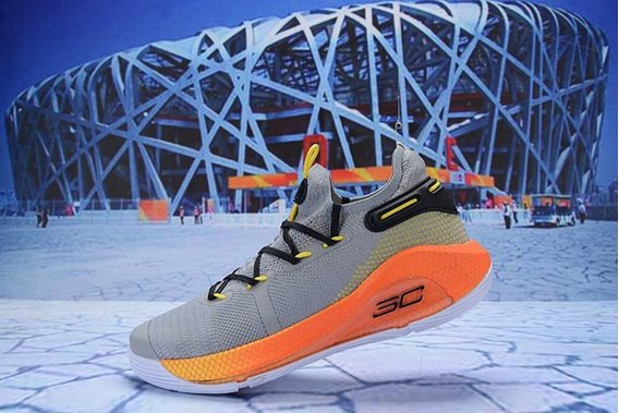 Zapatillas Under Armour Curry 6 Gris Claro Y Naranja 2019