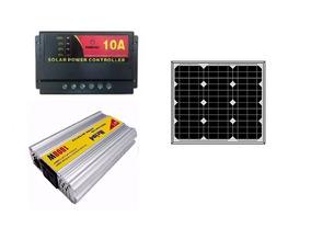 Kit Placa Painel 30w Solar Controlador Inversor 1000w 110v