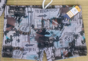 Conjunto Biquini Top Cropped + Shorts Praia + Sunga Adulto