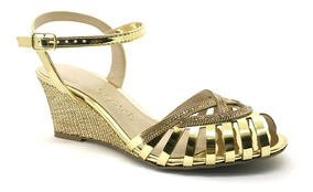 Sandália Crysalis Anabela Glamour Ouro 41556114 Promoção