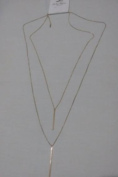 Colar Lindo Com Dois Cordões Longos Elegante Bijouteria