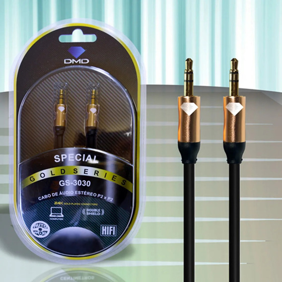 Cabo Áudio P2 Stereo Puro Cobre Com 3,00 Metros