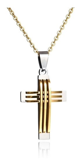 Cordão Corrente Com Crucifixo Aço Inox 316l+ Banho Ouro 18k