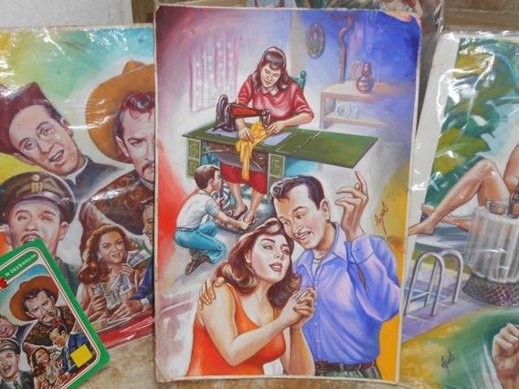 Pintura Original Portada Vida De Pedro Infante Del Comic 80s
