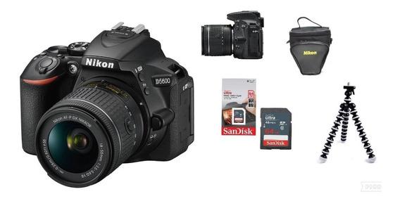 Câmera Nikon D5600 Com Lente 18-55mm + 64gb + Tripé + Bolsa