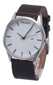 Relógio Masculino 6850 Marrom Quartz Cagarny - Original