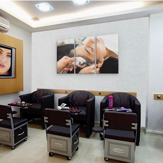Conjunto Quadro Salão De Beleza Lavatorio Em Mdf 94x60cm