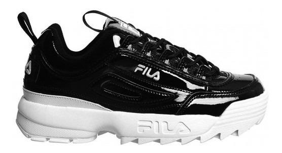 Zapatillas Fila Disruptor Ii Premium Patent Black Tienda Fue