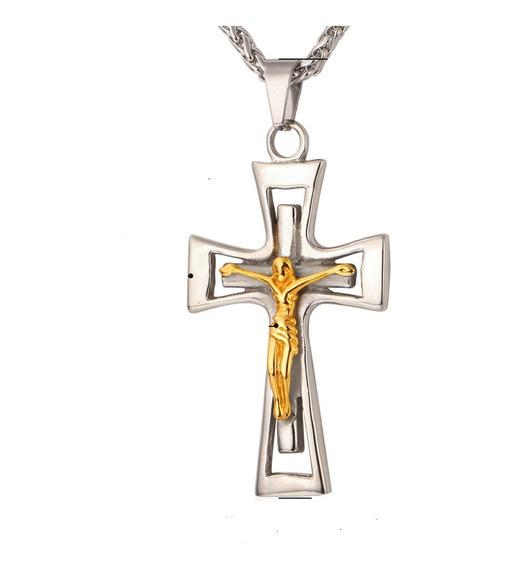 Colar Corrente Cordão Masculino Crucifixo Aço Ouro Banho C50